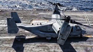 MV-22 Osprey Takeoff & Landing on Aircraft Carrier
