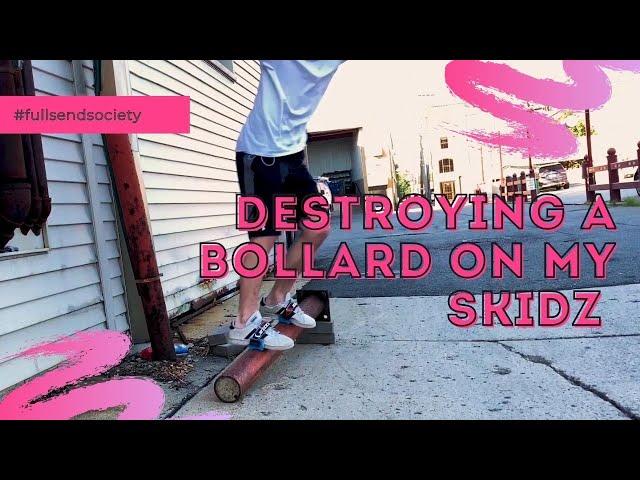 Destroying a bollard on my Skidz | Skidz Grindplates