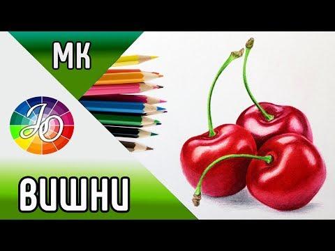 ВИШНИ👍✔ Как нарисовать вишни, мастер-класс по рисованию цветными карандашами (натюрморт)