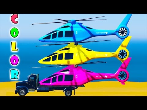 Thumbnail: Fun Helicopter on Truck & Cars Spiderman Cartoon for Children & Colors for Kids w Nursery Rhymes