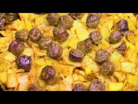 Как приготовить картошку с капустой и колбасками в духовке просто, быстро и очень вкусно.