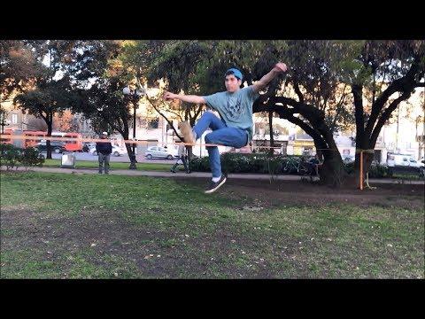Slackline Sport at Balmaceda Park in Santiago, Chile