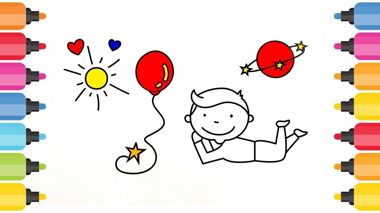 Güneş Balon çocuk Ve Gezegen Boyama Oyunu Youtube