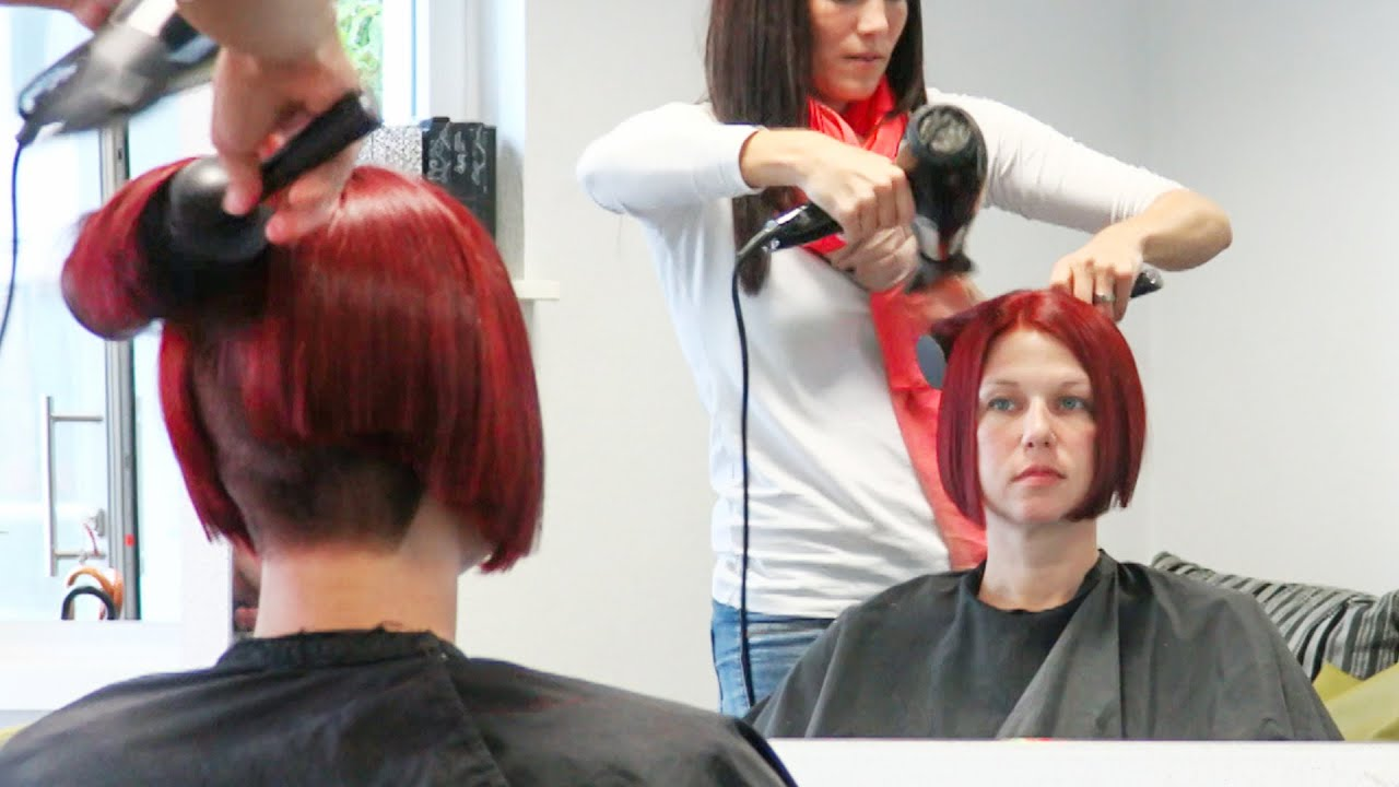 Gorgeous short Bob haircut women with undercut nape and premium red hair  color by Alisha Heide