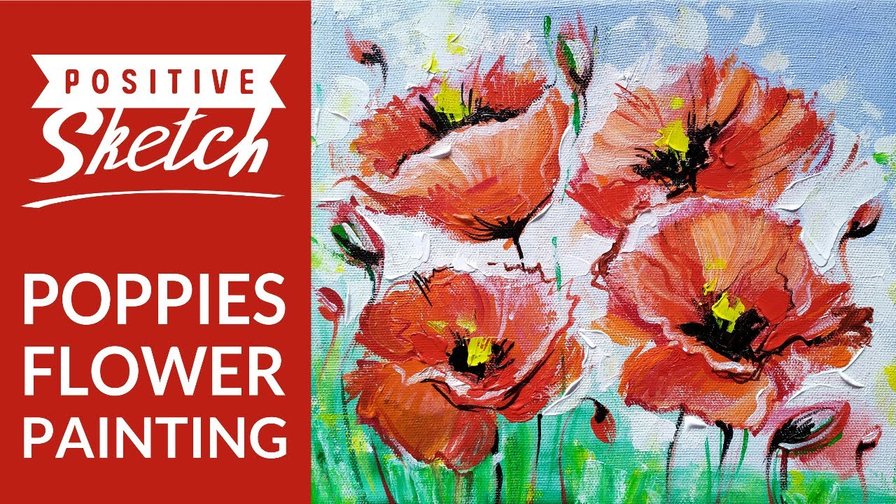 Acrylic painting tutorial, Easy acrylic painting, Poppies ...