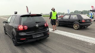 740HP VW Golf 5 R32 Turbo vs 735HP VW Golf 2 R32 Turbo 4Motion