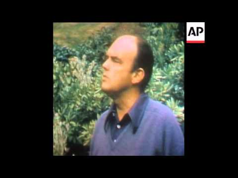 SYND 14-8-73 EHRLICHMAN SPEAKING ABOUT WATERGATE SCANDAL IN HIS HOME AT LAKE WASHINGTON