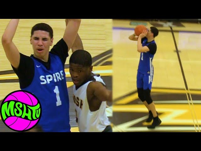 LAMELO BALL GETS HEATED - Mom Watches Melo Half Court Shot vs Brush