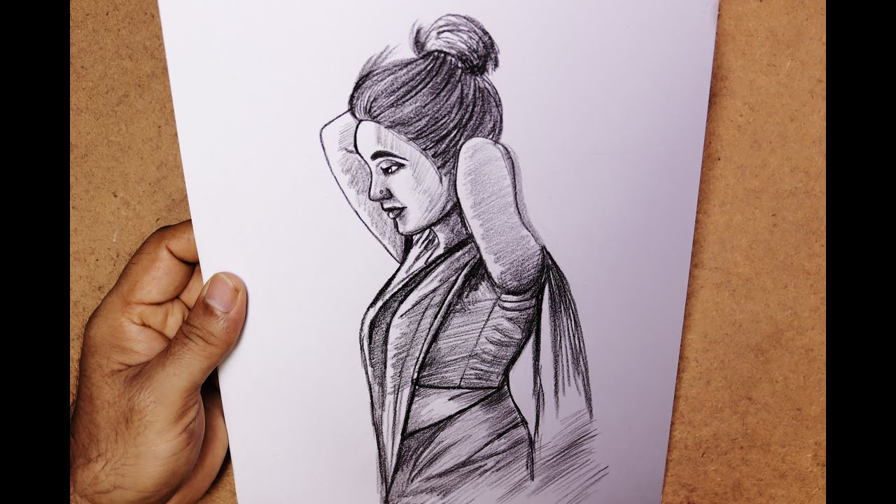 Pencil sketch drawing a female step by step || Female face draw and shading || Art video