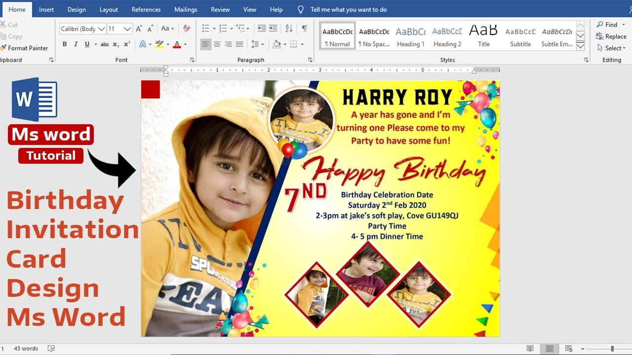 ms word tutorial birthday invitation card design in ms word ready to print