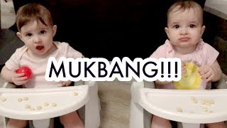 TWIN BABY GIRLS FIRST MUKBANG + DANCE PARTY WITH QUEEN A! /// McHusbands