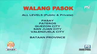 FYI: Mga lugar na #WalangPasok ngayong Martes, August 22, 2017