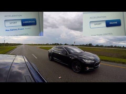 Tesla Model S P90D Ludicrous vs Tesla Model S P85D Insane Drag Race