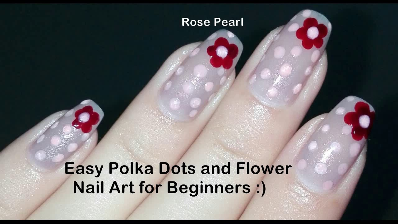 Easy Diy Flower And Polka Dots Nail Art Tutorial No Tools Nude