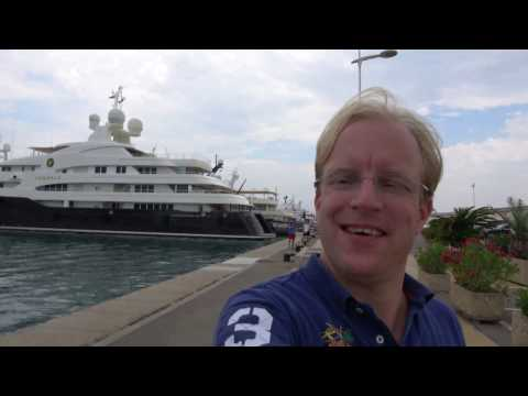 [4k] Superyachts at Yacht Club Antibes in Antibes harbour, Southern France, July  2016