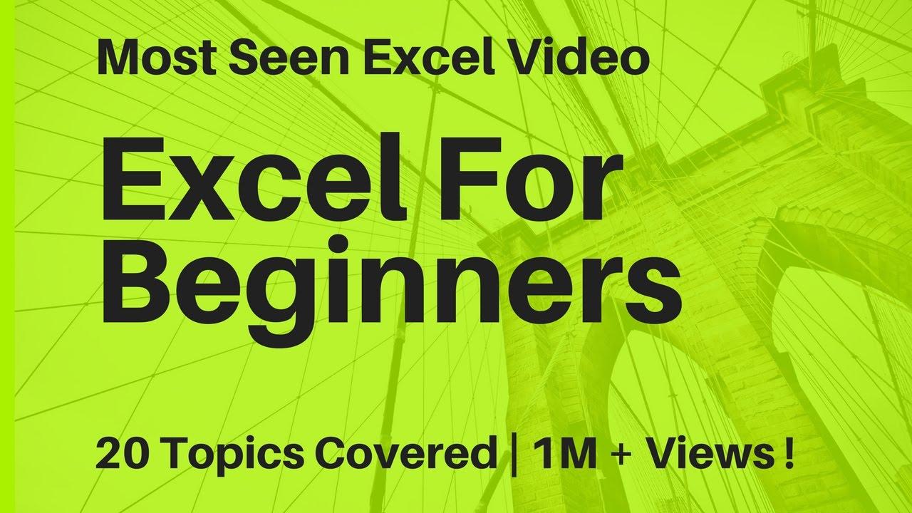 learn basic excel skills for beginners part 1 youtube