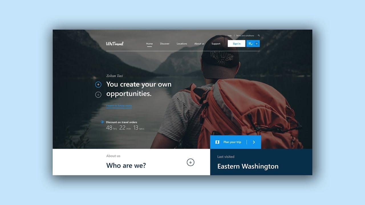 Web Design Speed Art #5 - Travel website [Adobe XD]
