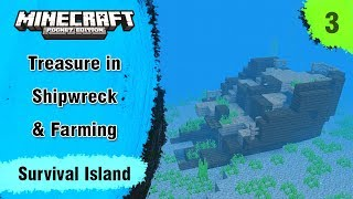 Survival Island #3 -  Buried Treasure with Two Shipwreck & Wheat Farming - Minecraft PE | in Hindi
