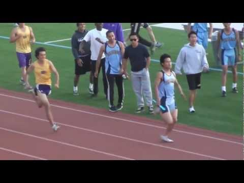 2012 DBHS vs WHS 4X400 Boys Varsity Race with Slow Motion Replay