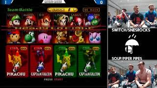 Switch/SNESROCKS vs Soup/Piper Pipes (Smash 64 Doubles Raincity 2)