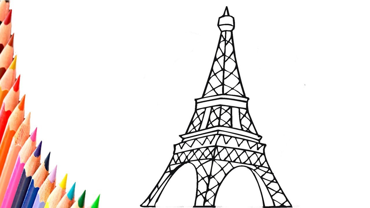 - Coloring Pages - How To Draw The Eiffel Tower Step By Step Easy