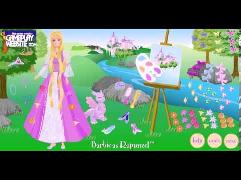 barbie rapunzel dress up games