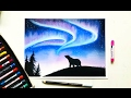 Drawing the Northern lights(Aurora borealis) with soft pastels | Leontine van vliet