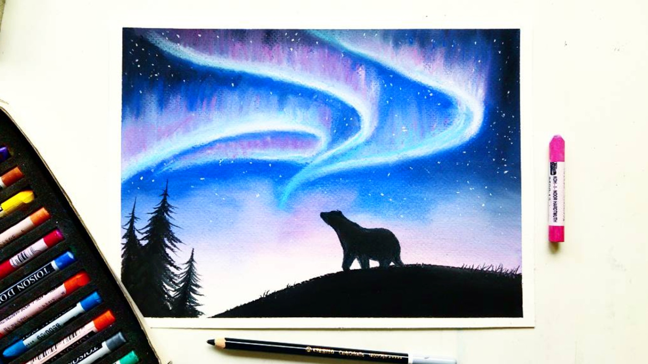 Drawing The Northern LightsAurora Borealis With Soft Pastels