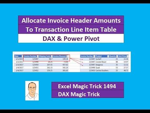 EMT DAX Power Pivot Allocate Invoice Header Amounts To - Invoice header