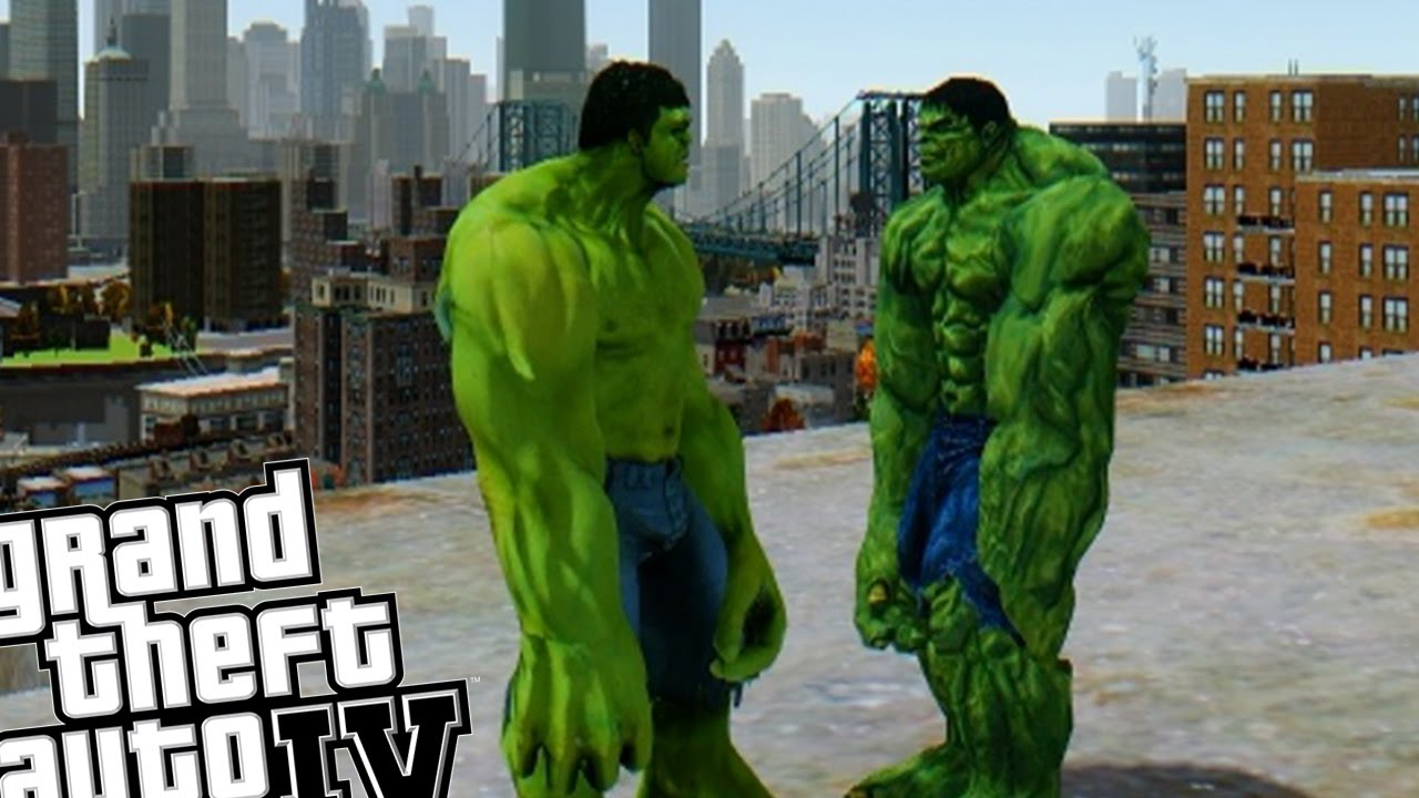 NEW HULK VS OLD HULK - AWESOME BATTLE (Grand Theft Auto IV Hulk Mod)