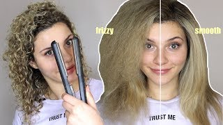 HOW TO STRAIGHTEN CUŔLY HAIR WITHOUT FRIZZ