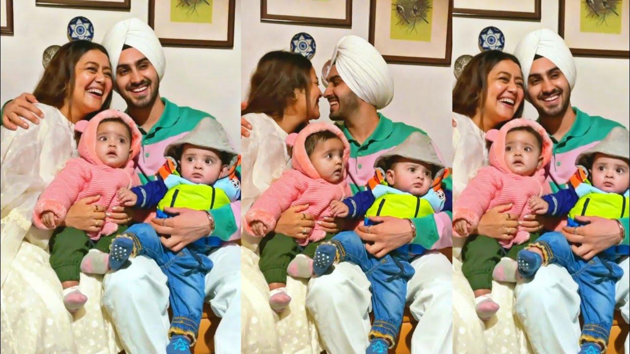 Nehha Kakkar with babies Hubby Rohanpreet Singh cute 😍😘😘 Neha with family 😂 #shorts #youtubeshorts