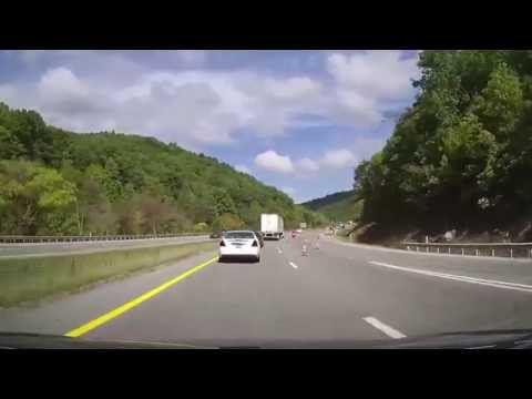 Driving from Wytheville, Virginia to Princeton, West Virginia through Appalachian Mountains on I77