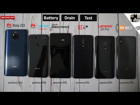 Honor View 20 vs Mate 20X vs Lenovo Z5 Pro vs Note 9 vs OnePlus 6T vs MIX 3 Battery Life Drain Test