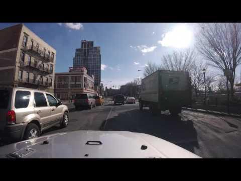 Driving through lower Manhattan and around Williamsburg, NYC