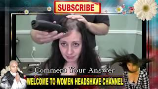 young women headshave with clipper