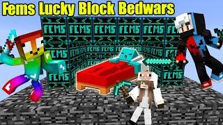 MINI GAME : FEMS LUCKY BLOCK BEDWARS ** NOOB TEAM BẢO VỆ GIƯỜNG BẰNG BEDROCK - AI SẼ WIN ĐÂY ?