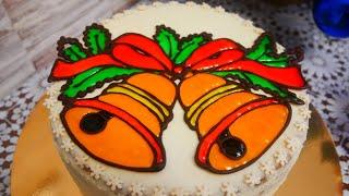 Лимонный торт Бисквитный торт на Рождество Украшение торта гель декором за 10 минут