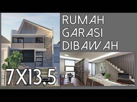Rumah dengan Garasi Dibawah - 7x13,5m [kode 046] - YouTube
