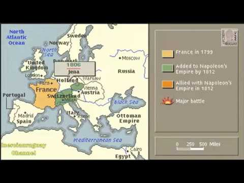NAPOLEONIC WARS HISTORY NAPOLEON ANIMATION ON A MAP on timeline of napoleon's battles, map of grant's battles, map of world war 1 battles, map of civil war battles, map of alexander's battles, map of napoleon bonaparte battles, map of george washington's battles, map of mexican war battles, map of texas battles,