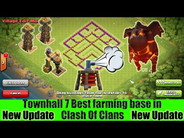 Clash of clans - Best TH7 Farming Base with new Air Sweeper, Dark Elixir drill and Tesla