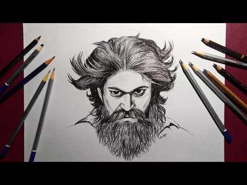 Yash Drawing Kgf How To Draw Rowdy Look Youtube
