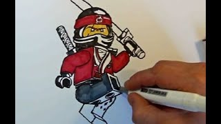 How to Draw KAI from the LEGO NINJAGO movie 2017#step by step