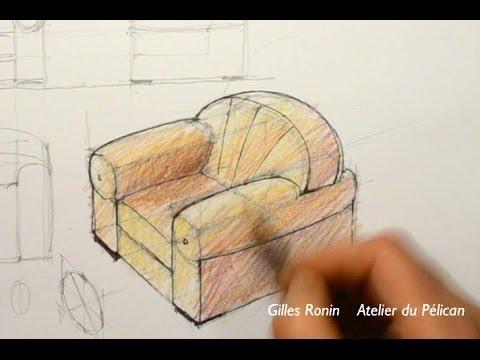 Dessiner en perspective cavalière un fauteuil club - YouTube