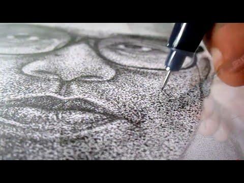 Cara Menggambar Wajah Dari Jutaan Titik - How To Draw A Face ( Pointillism Drawing Technique )