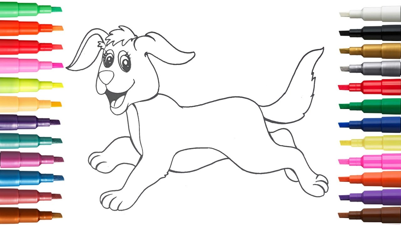 learn how to color paint for kids dog and bunny coloring pages