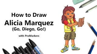How to Draw and Color Alicia Marquez from Go, Diego, Go! with ProMarkers [Speed Drawing]