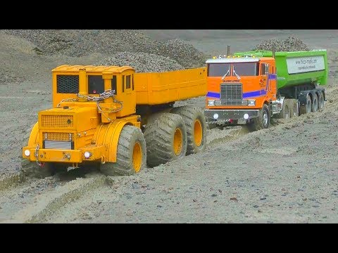 Heavy construction! LKW Globliner in the mud! Stunning Kiro K700 lorryTruck rescue!Rc volvo 2017