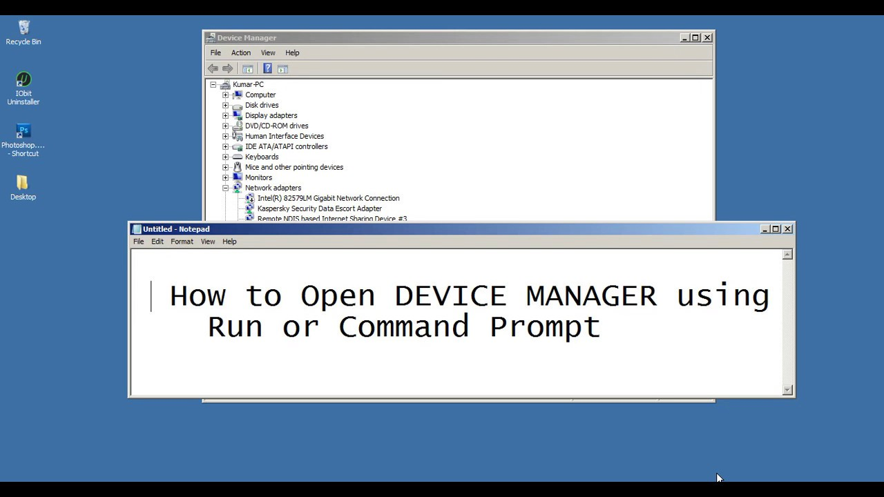 How to open Device Manager using Run or Command Prompt Shortcut