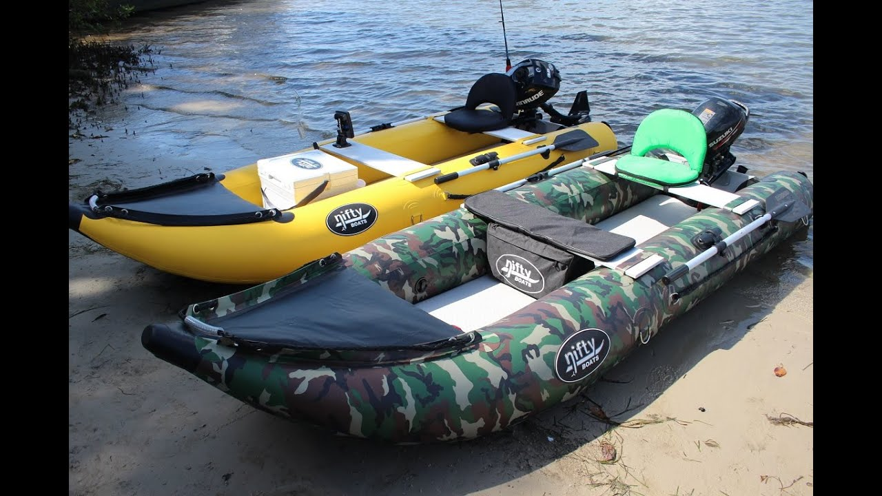Nifty boat inflatable fishing kayak with outboard youtube for Blow up boat for fishing